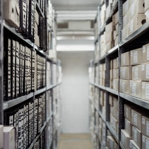 an image of archived materials on shelves