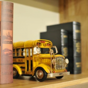 toy school bus and books