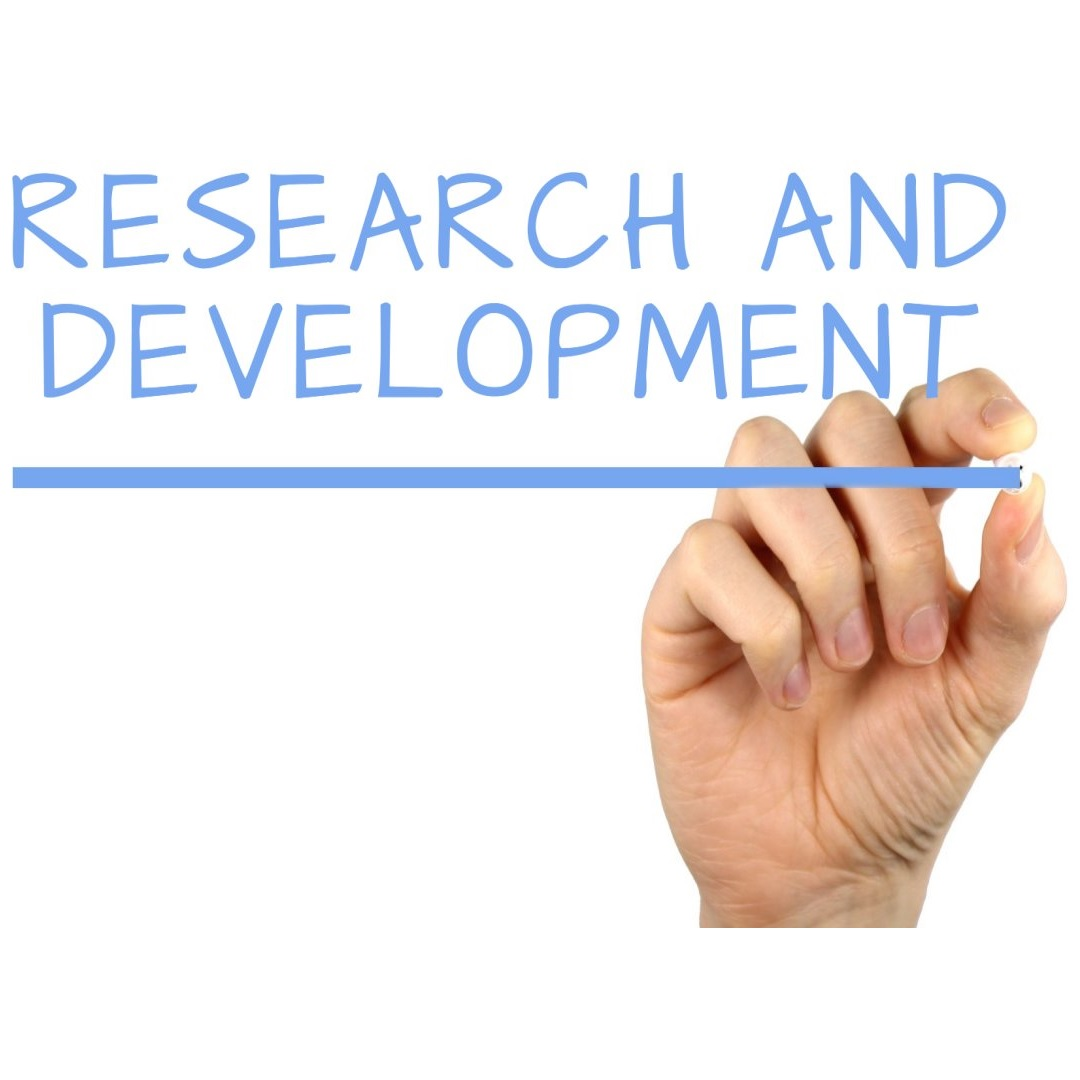 logo of research and development sign and a hand