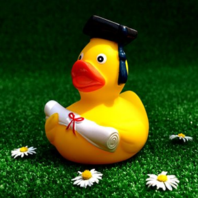 image of duck with graduation cap and diploma