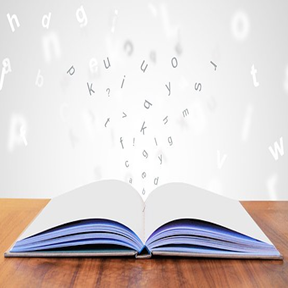 image of book with letters floating out