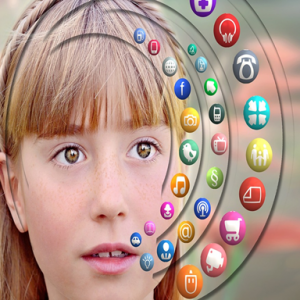 image of girl with pictures of apps