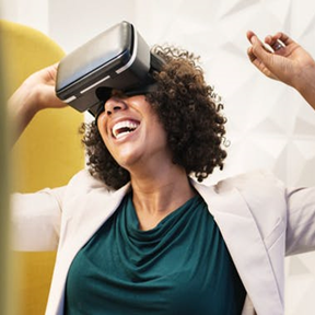 image of woman with virtual reality goggles