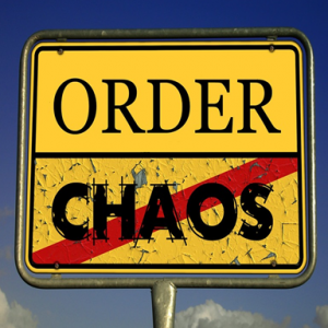 image of road sign with words order and chaos