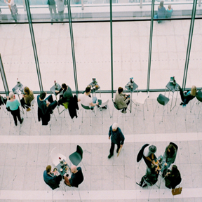 image of a group of people working at tables