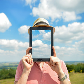 image of person with iPad