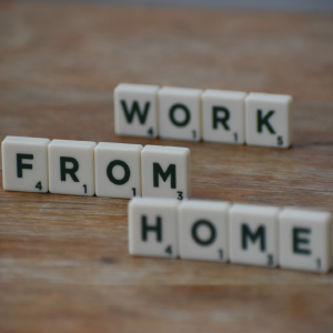 work from home spelled in scrabble letters