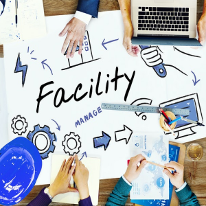 facility manage blueprints laptop